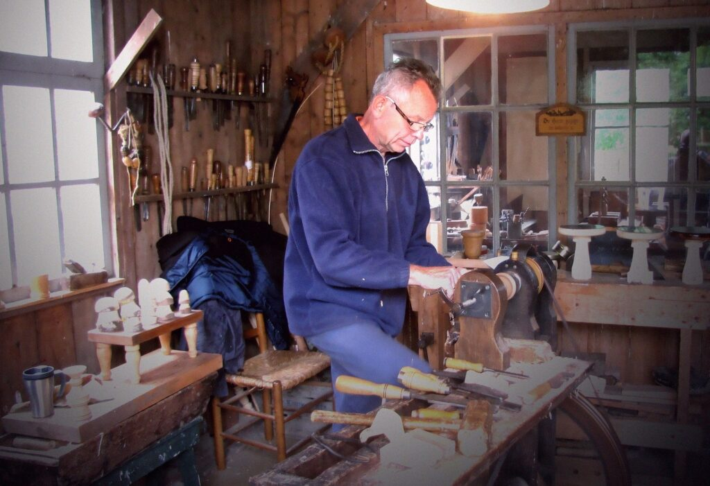 man working in his shed